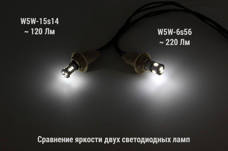 Сравнительное фото двух светодиодных ламп с разным световым потоком