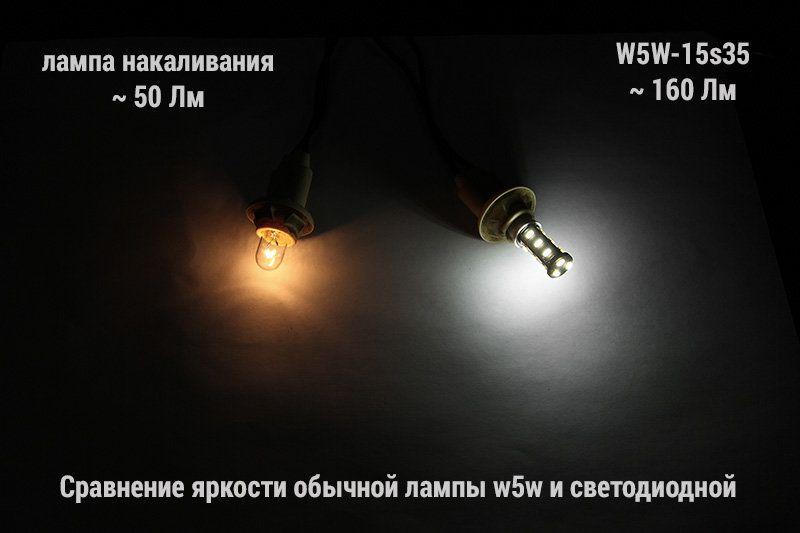 Сравнительное фото ламп w5w-15s35 и накаливания