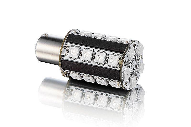 Расположение светодиодов на лампе P21W-25s54