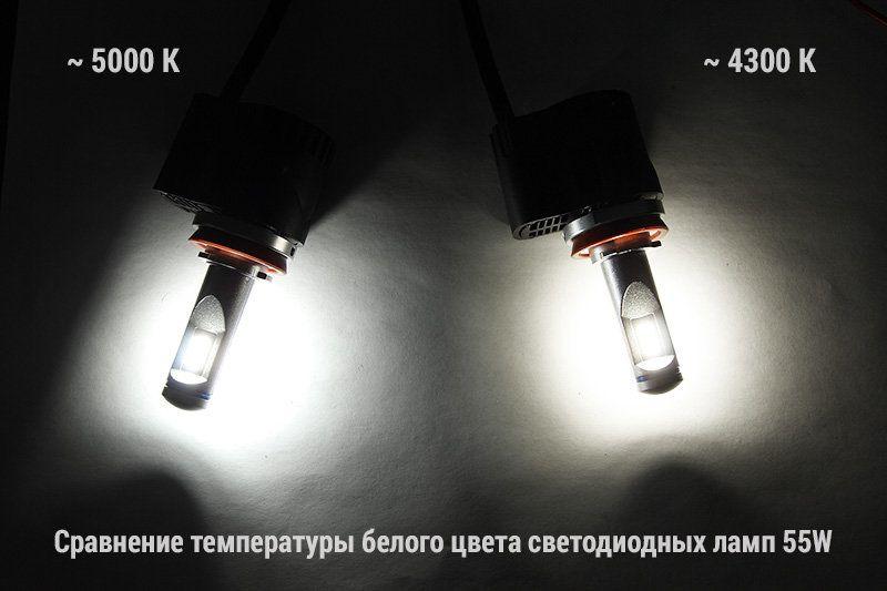 Сравнение ламп D-55W разных температур