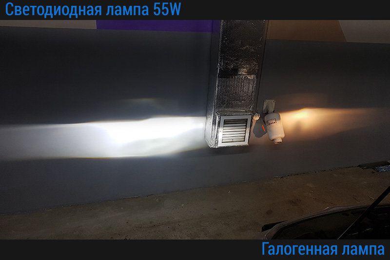Сравнение галогенной лампы и светодиодной лампы D-55W