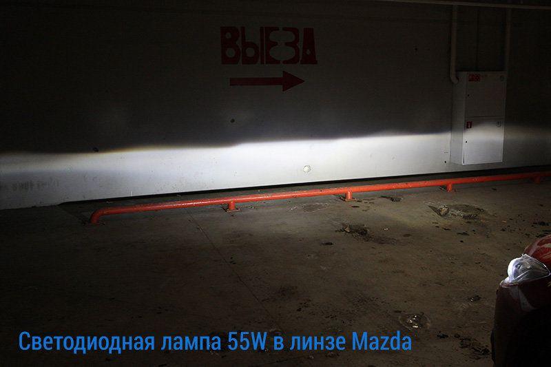 Свечение светодиодных ламп H7-55W