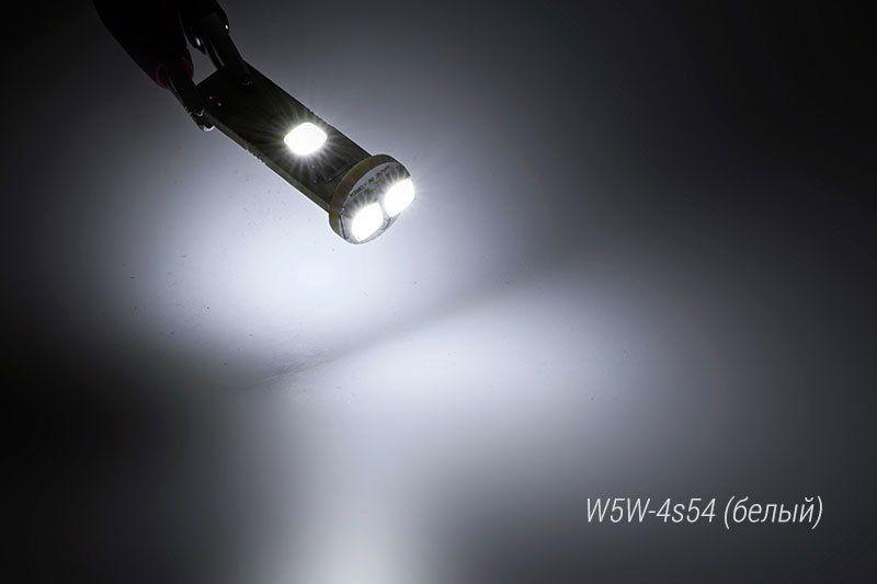 Свечение светодиодной лампы MoonLight W5W-4s54