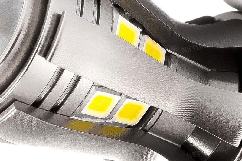 Светодиодная лампа w21w-16s35 светодиоды крупным планом