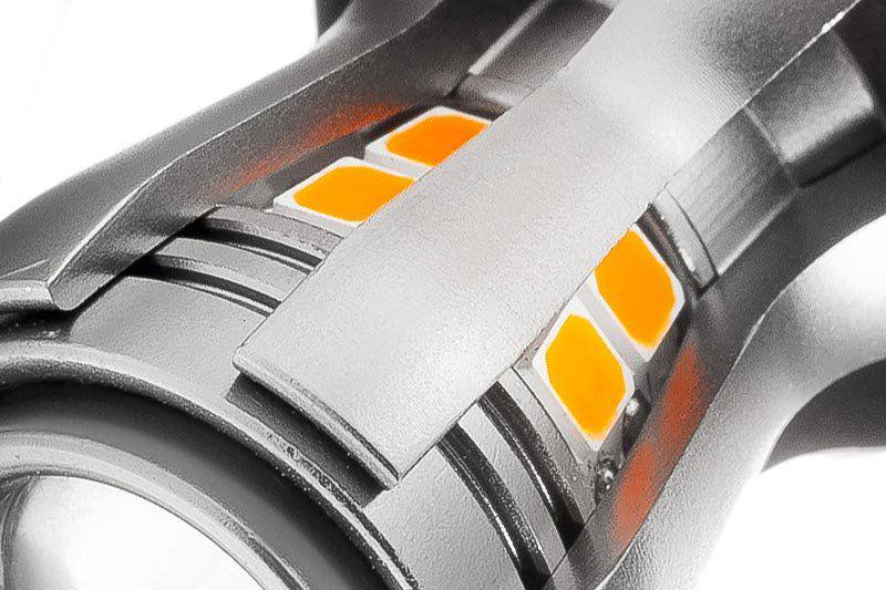 Светодиодная лампа py21w-16s35 светодиоды крупным планом