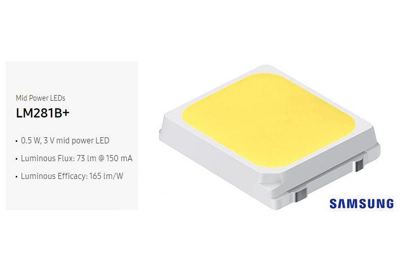 В лампочке W5W-3s35s используются 3 чипa Samsung 2835